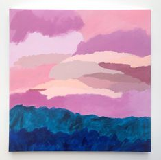 'Summer Skies' original acrylic abstract painting Summer Sunset, Floating Frame, Frame It, Original Artwork, Artworks, Art Pieces, The Originals, Canvas, Abstract
