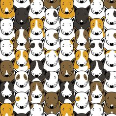 """Find your bully"" pattern. By Anna Gavryliuk for ALBMA DREAM #albmadream #bullterrier #pattern"