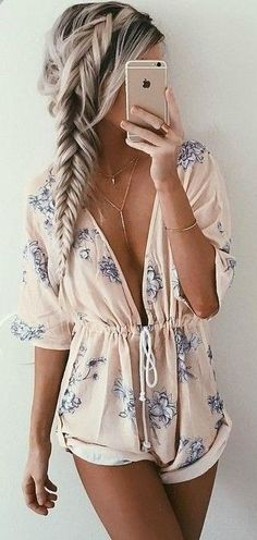 2309171fb7a7 romper floral romper floral pastel long sleeves deep v plunge v neck pink  rose pink dress jumpsuit blue white pattern lace cute girly summer summer  outfits ...