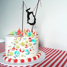 "Quincy Lane Bakes Sydney on Instagram: ""Circus Bizircus with this cake for a very cute brother & sister sharing their birthday party! Layers of Chocolate Brownie, Lemon Curd, Bubblegum flavoured Swiss Buttercream & topped with Meringues! My fantastic husband made the Trapeze topper that really topped it off! Love a kids cake that isn't a 'kids cake'! Hope your cool kids enjoyed their party @hollybrisley & you all had s great day xxx """