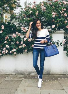 The Right Stripes - Rosie from The Londoner wears Reiss blue and white striped Luka jumper