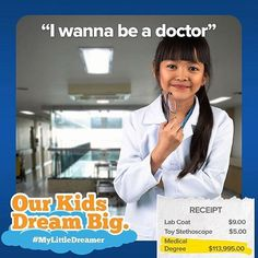 """This little dreamer just wants to make sick people feel better. She even makes house calls! Do you have a little """"Dr. Grey"""" at home that's eager to learn about the wonderful world of Medicine?  Are you prepared for the costs of paving their way to their dreams? Find out more at HeritageRESP.com/MyLittleDreamer (note: final tuition is a calculation based on historical figures. Full disclosures can be found at blog. HeritageRESP.com/mylittledreamer-2016-kids-dream-big-disclaimers)…"""