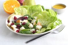 roasted red onion and pear salad.