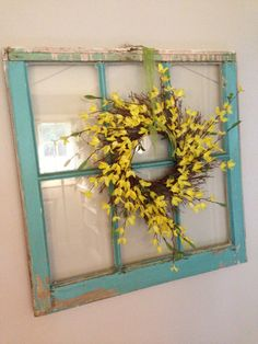 summer yellow wreath. I love the window pane - for stairwell