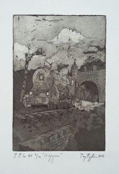 """""""Steam Train"""", aquitint on paper, 15x10cm, 2015"""