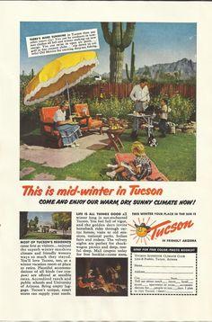 Tucson Arizona Vacations Original 1952 Vintage
