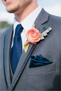 Great colours - grey suit, navy tie and pocket square, peach boutonniere, groom's suit ideas for valima