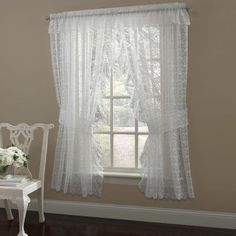 sweet home collection flower scrolling ruffled bridal lace curtain panels color white