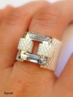 Swarovski ring / Beaded ring / Swarovski Crystal Jewelry / Swarovski Beaded…
