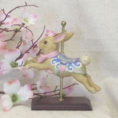 AVON Vintage Collectible,Beautiful Little Carousel Porcelain Bunny Rabbit Figurine on Metal Pole,Wood Base,1996,Antique Collectible,#VB7076 by ckdesignsforyou. Explore more products on http://ckdesignsforyou.etsy.com