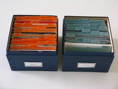 Photo organization - a box for each child divided by age.  Then a family box divided by year.