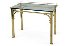 Brass & Glass Vintage Writing Desk   40''L x 22''W x 31.5''H