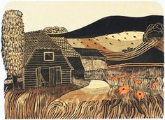 Harvesting near Glyndebourne A/P by Robert Tavener