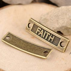 50 pcs alloy Faith words connectors DIY jewelry findings  35x10mm by RiverCraftSupplies on Etsy
