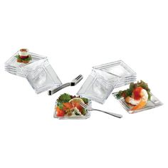 Set of 12 glass plates with 12 forks and a recipe card.     Product: 12 Plates, 12 forks and 1 recipe cardConstru...
