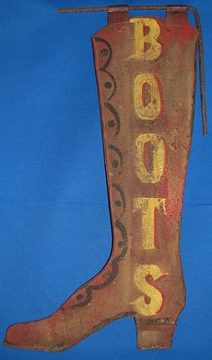 Antique Folk Art Painted Tin Boot Trade Sign