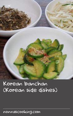 Korean banchan (Korean side dishes) | Banchan refers to small side dishes of food served with cooked rice in Korean cuisine. The cuisine is famous for an amazing array of banchan recipes, which are made to accompany many Korean meals to complement and accentuate the flavours of the main dishes. Often colourful and varied, banchan is set in the middle of the table to be shared.