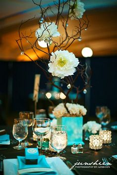 Tablescape in Blue and Brown, topped with Manzanita Branch Centerpieces. • Tablescape and centerpiece design by user @Jess Wes. • See how we made them: http://blog.urbanflourish.com/?p=264 •   Photo by Junshien Photography