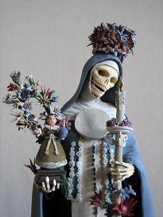 Crowned nun, from a Día de los Muertos set by the De La Cruz family of Mexican folk artists.