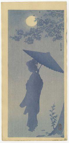 Kasamatsu Japanese Woodblock Print Beauty in Moonlight RARE 1st Edition | eBay