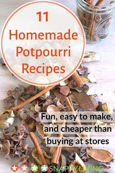 Try and 8 in the dried recipes. There are two basic types of homemade potpourri recipes: dried and simmering. Making dried potpourri - the kind that sits around in a bowl, letting off its wonderful scent - is fun, easy and affordable.