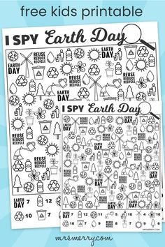 Celebrate Earth Day with our free I Spy Earth Day game. A great seek and find activity to teach kids the importance of taking care of the planet. Find these 14 items and keep Earth clean and reuse, reduce and recycle. Happy Earth Day 4 Year Old Activities, Dr Seuss Activities, Rainy Day Activities For Kids, Activity Sheets For Kids, Earth Day Activities, Holiday Activities, Preschool Ideas, Earth Day Worksheets, Homeschool Worksheets