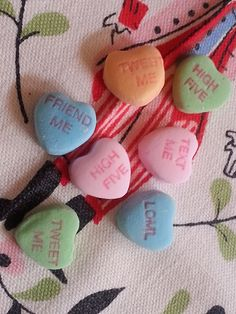 Conversation Hearts - Some Things Never Change, Until They Do - Text Me, Tweet Me, Friend Me, High Five, LOML (Love of My Life) - Harris Sisters GirlTalk
