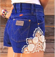 Heart Crochet Lace Short #lace #blue #shorts www.loveitsomuch.com