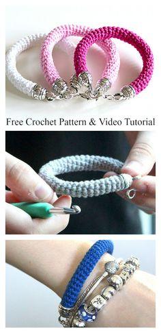 Tube Bracelet Free Crochet Pattern and Video Tutorial #freecrochetpatterns #bracelet