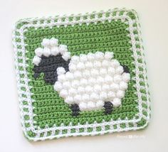 Repeat Crafter Me: Crochet Bobble Stitch Sheep Square - free pattern