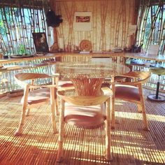 Bamboo furniture at home in Bali from designs. Tropical Beach Houses, Bamboo Furniture, Wicker, Bali, Dining Chairs, Interior Design, Architecture, Home Decor, Bamboo