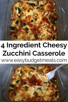 Cheesy Zucchini Casserole Recipe - Easy Courgette Au Gratin or Cheesy Bake with only 4 ingredients - with the video tutorial. Zucchini Side Dishes, Easy Zucchini Recipes, Cheesy Zucchini Bake, Vegetable Dishes, Vegetable Recipes, Vegetarian Recipes, Cooking Recipes, Healthy Recipes, Zucchini Bread