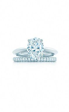 179705036 Sponsored: Oval Shape Engagement Ring; Tiffany® Soleste Band Ring in  platinum, @