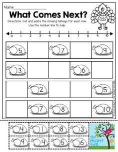 What Comes Next? Cut and paste the missing turkeys in each row. Works with numbers 1-10. So much turkey FUN!