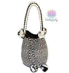 Colorful Crochet Bag With Braided Handles Pom Boho Handbag Style Mwtpd08
