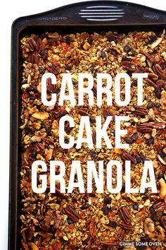 This granola recipe is easy to make and celebrates the classic carrot cake flavors we love. Use granola as a crunchy topping on unsweetened yogurt or oatmeal with fruit www. Granola Muesli, Vegan Granola Bars, Pumpkin Granola, Vegan Recipes, Cooking Recipes, Cooking Tips, Freezer Recipes, Freezer Cooking, Drink Recipes