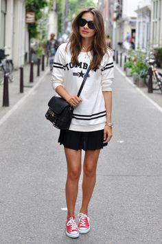 20 Ways to Wear Colored Converse - tomboy tee + mini skirt worn with red converse