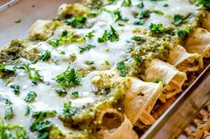 An authentic version of Enchiladas Suizas is always at the top of my list -- cheesy chicken enchiladas drenched in a creamy green sauce. Mexican Dishes, Mexican Food Recipes, Dinner Recipes, Ethnic Recipes, Cheesy Chicken Enchiladas, Main Dishes, Chicken Recipes, Cooking Recipes, Stuffed Peppers