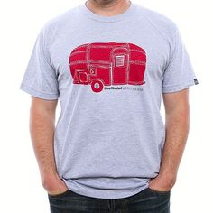 Airstream Rivet Trailer T-Shirt - Grey Red Happy Campers b16bfc9be