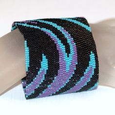 Swoosh ... Peyote Bracelet . Wide Cuff . Beadwoven . by time2cre8, $93.00