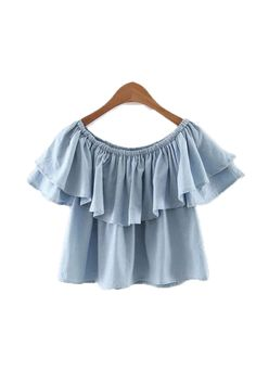 'Riley' Chambray Off the Shoulder Top