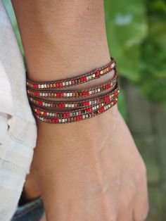 Red mix Wrap bracelet, Seed beaded, Boho Wrap Bracelet, Beadwork bracelet by G2Fdesign on Etsy https://www.etsy.com/listing/235126515/red-mix-wrap-bracelet-seed-beaded-boho