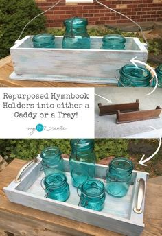 repurposed hymnbook holders into a caddy and a tray by My Love 2 Create for MyRepurposedLife.com