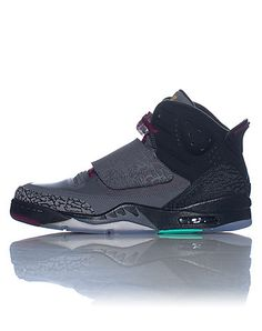 JORDAN Son of Mars 'Bordeaux' High top men's sneaker Lace lock with single velcro strap Textured panel design Padded tongue with JORDAN jumpman logo