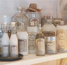 love the French labels and silver caps--a little French style for the bath.......