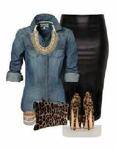 A denim shirt with a pencil skirt.  Classy, yet chic.  Ask me about the pencil skirts I sell that are allowing me to stay home with my young kids and send my one to a private school!