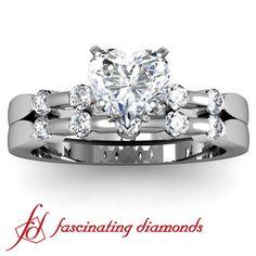 Petite Diamond Bezel Set Engagement Wedding Rings Set