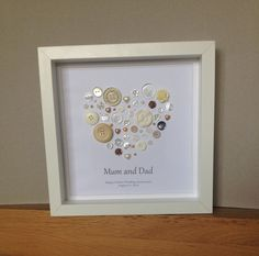 Beautiful Button Art to Celebrate a Golden Wedding Anniversary - 50th Anniversary Gift - Framed Button Art by ButtonArtbySophie on Etsy