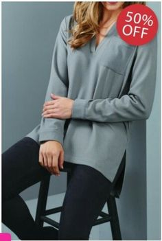 3d71f2947ca Description Returns Mud Pie Amelia Essential Tunic is a long sleeve  textured poly crepe tunic featuring a slit at the neck and single chest  pocket with.