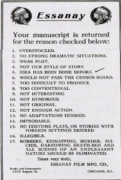 c.1907-1925: Movie rejection letter